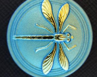 Hand Made Art Czech Glass Cabochon Blue-Green - Gold Dragonfly size 14, 31,5mm 1 pc (BUT15077/14)