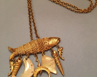 Vintage Coro Fish Charm Necklace