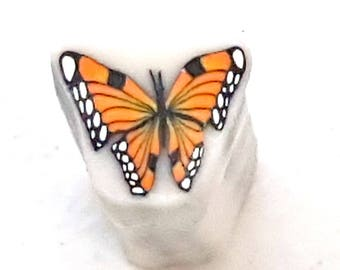 Monarch Butterfly Cane, Orange Polymer Clay Flutterby Raw Unbaked Cane