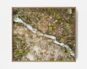 arial forest print, arial river, arial print, arial wall art, drone shot, printable forest, forest print, river print, river art, tree print