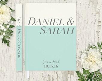 Wedding Guest Book Wedding Guestbook Mint Green Wedding Guest Book Personalized Guest Book Wedding Gift Modern Wedding Guest Book GB108