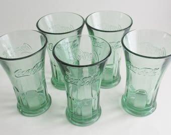 Vintage Coke Glasses Tumblers Set of 5 Flared Ribbed Libby 16 Ounce