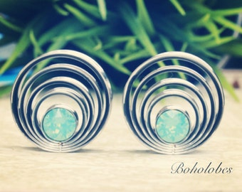 """Pair of cascading layered swarovski crystal plugs for gauges or stretched ears sizes 1"""" 25mm"""