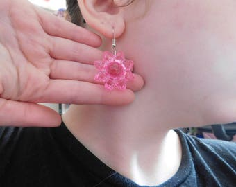 Valentines Lolita pink plastic flower earrings on silver earwire