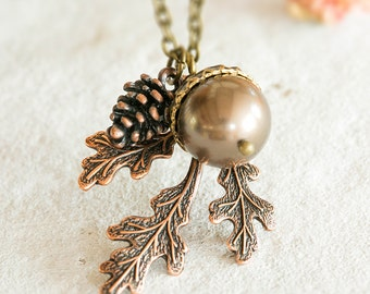 Acorn Pinecone Oak Leaf Necklace, Bronze Pearl Acorn Pendant Necklace, Fall Autumn jewelry, Woodland Necklace, Copper Leaf, Gift for her