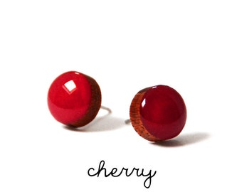 Cherry Red Solid Colour Stud Earring · Red Stud · Bright Red Stud · Paint + Resin Stud · 3 sizes 8mm, 10mm & 13mm