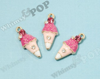 Pink White Ice Cream Cone Enamel Crystal Kawaii Foodie Charm, Ice Cream Cone Charm, 10mm x 23mm (5-2H)
