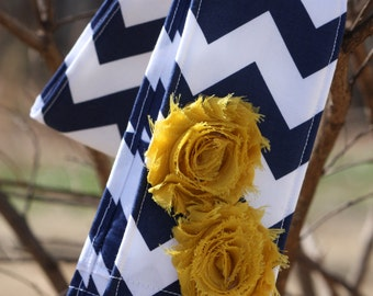 DSLR Camera Strap Cover with lens cap pocket and padding included - Shabby Chic Navy Chevron Floral