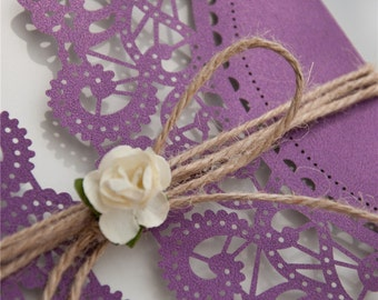 Purple Shimmer Laser Cut Square Invitations - DEPOSIT