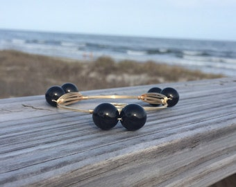 Black Pearl Bangle - Pearl Wire Bangle