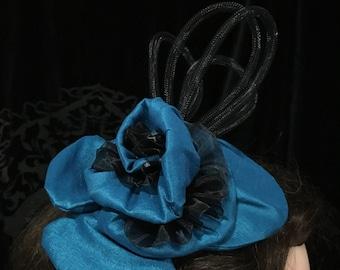 Bright Blue Taffeta with Organza Ribbon