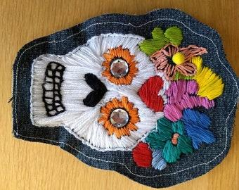 Embroidered Catrina Denim Patch