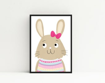 Pink Rabbit Nursery Wall Art - Girls Nursery Print - Pink Nursery Decor - Woodland Animal Print - Rabbit Nursery Decor - Girls Rabbit Art