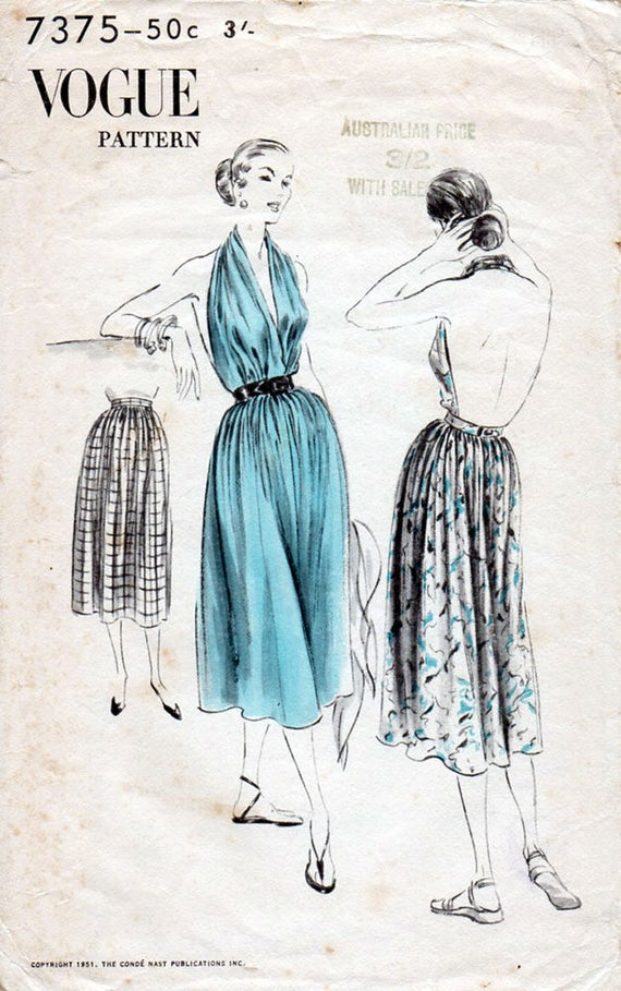 1950s Skirt with Attached Halter Top Pattern Vogue 7375 Vintage ...