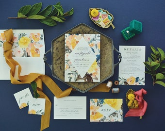 MIA SUITE // Watercolor Wedding Invitation, Gray and Blush and Orange, Botanical, Boho, Geometrical, Modern, Floral, Rustic, Handpainted