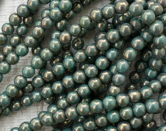 6mm Czech Glass Green Turquoise Bronze Picaswso Druk Beads, 3254, Green Turquoise Bronze Picasso 6mm Smooth Round Beads, 50 Beads