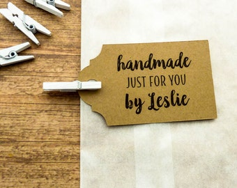 25 Count Handmade Tag - Gift Tags - Personalized Tag - Product Tags - 2.5 in. - Kraft Tags - Custom Tags - Scallop Tag - Custom Label HM8