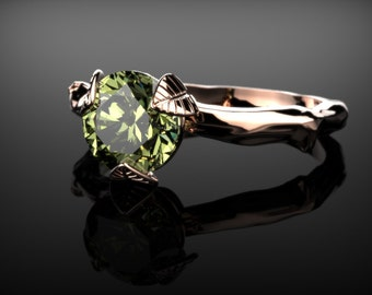 Leaf Engagement Ring  Peridot Rose Gold Branch Engagement Ring Peridot Engagement Ring Gemstone Ring Peridot Ring Peridot August Birthstone
