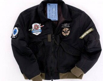 Mens Black pilot bomber jacket (NEW) . Warm Aviator bomber with author's patches and embroidery. Ski adventures jacket