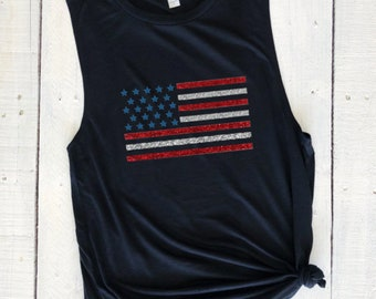 American Flag, glitter muscle tank, usa, pride, army