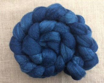 4 oz natural indigo BFL/silk roving, hand-dyed handdyed hand dyed Blueface Leicester wool and silk handspinning