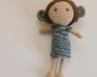 crochet doll pattern with unique hair and dress