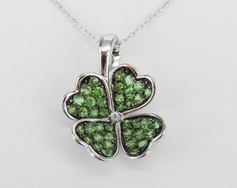 "14K Gold White Sapphire and Tsavorite Garnet 4 Leaf Clover Pendant Necklace 18"" Chain"