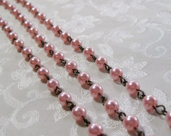 "Clearance SALE One Meter 39.5"" Pink Acrylic Pearl 6mm Beaded Rosary Link Chain Antique Bronze 976"