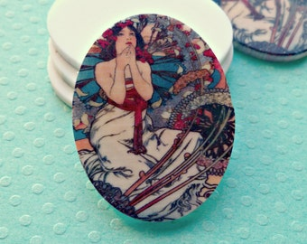Two 40x30mm Acrylic Alphonse Mucha Lovely Maiden Cabs (1-31-2)