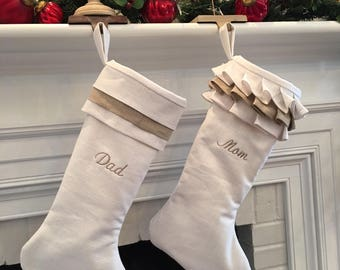 White Linen Personalized Christmas Stockings Pair Tan Beige Embroidered Monogram Ruffle Cuff