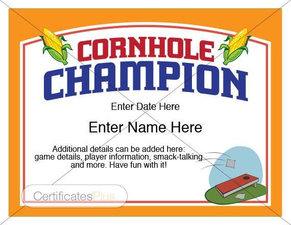 Cornhole Certificate Corn Hole Awards Bean Bag Toss