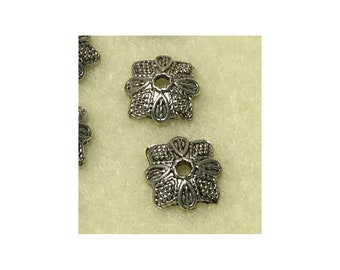 Antique Silver Tone Dotted 11mm Square Bead Caps - 10 Caps