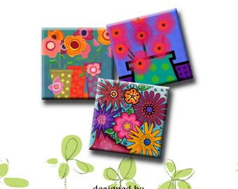 WHIMSICAL FLOWERS -  Digital Collage Sheet 1.5 inch square images for magnets, pendants, decoupage, scrap-booking. Instant Download #203.