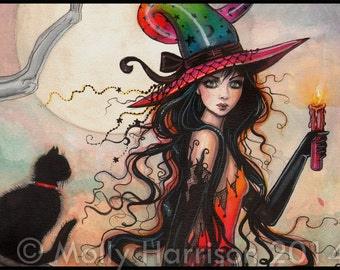 October Flame - Halloween Witch and Black Cat Giclee Print of Original Painting by Molly Harrison Fantasy Art
