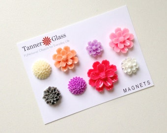 Resin Flower Magnets - Azalea Colors- Rare Earth Magnets- Set of 8