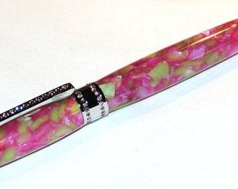 Hand Turned Pink and Green Acrylic Princess Twist Pen w/ genuine Swarovski Crystals