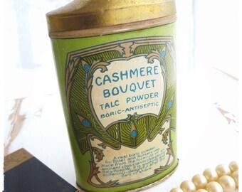 ART NOUVEAU TALC powder tin bottle: Cashmere Bouquet, Colgate & Co.