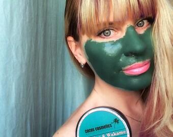 Green clay mask / Spirulina face mask/ Antioxidant clay mask / Antiaging facial mask / Acne treatment / Organic face mask