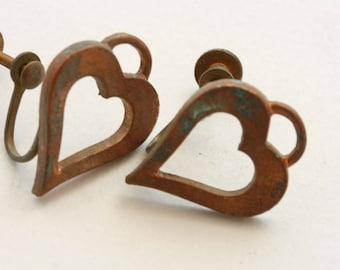 Heart earrings. Copper, heavily oxidized. Sold by the pair. Old time screw back earrings. Beadwork, Jewelry making, Jewelry supply.