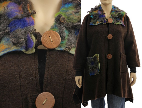 appliqués wool hooded brown boiled coat hooded XXL lagenlook plus felt US 22 coat hooded Boho women with coat wool wool XL size size 18 xEYnwS
