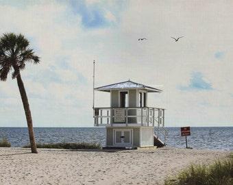 Lifeguard Photo, Palm Tree Beach Photography, Florida Travel Art, Sand Dunes Tropical Coastal House Decor, Nautical Home Decor Wall Art