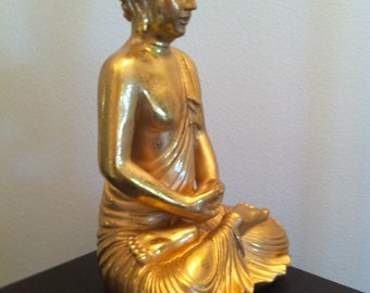 Oriental Sitting Buddha in Gold - Asian Zen Garden Home Decoration