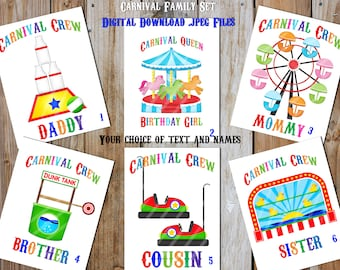 Carnival Fun Family Birthday Set Printable Digital Downloads for iron-ons, heat transfer, T-Shirt, Totes, Bags,Scrapbooking,  YOU PRINT