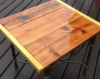 Rustic End Table - Made with Reclaimed Wood From An Old Barn