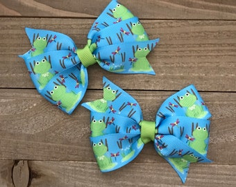 Frog on a Lily Pad Bow Set