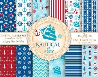 Nautical Digital Paper, Digital Paper Nautical, Nautical Patterns, Navy Digital Paper, Nautical Digital Background, Sea, Anchor Marines Ship