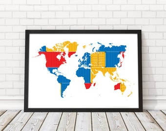 Cargo Wall map, World Map cargo, Color World map art, Cargo poster, Colorful wall art, World map wall art, PRINTABLE art, Travel map, Cargo