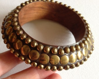 Bangle - chunky bracelet with brass stud detail