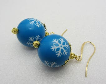 Snowflake Earrings Blue and  White Christmas Snowflake Earrings Winter Earrings Dangle Drop Earrings Snowflake Jewelry SRAJD