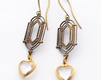 Crystal Heart Earrings, Art Deco Earrings, Heart Jewelry, Geometric Earrings, Antiqued Brass Earrings,Lightweight Earrings,Jewelry GiftSRAJD
